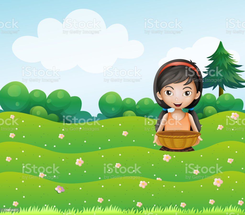 girl with a basket at the hill royalty-free stock vector art