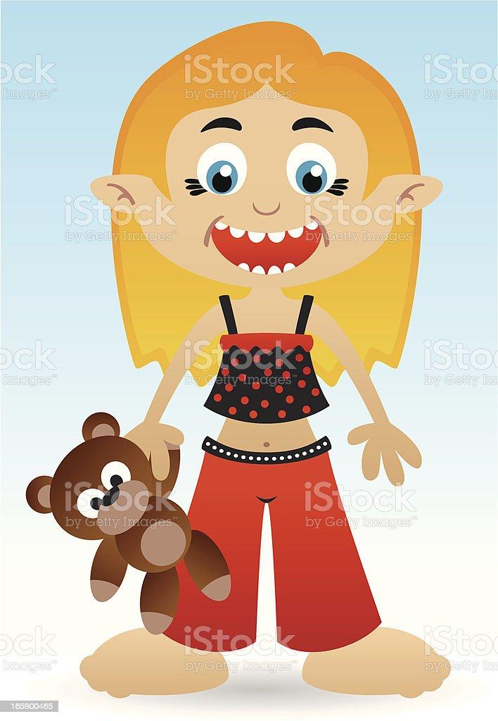 Girl with a bear vector art illustration