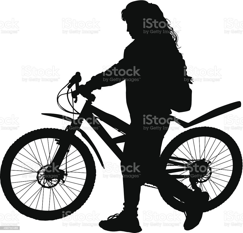 Girl with a bicycle royalty-free stock vector art