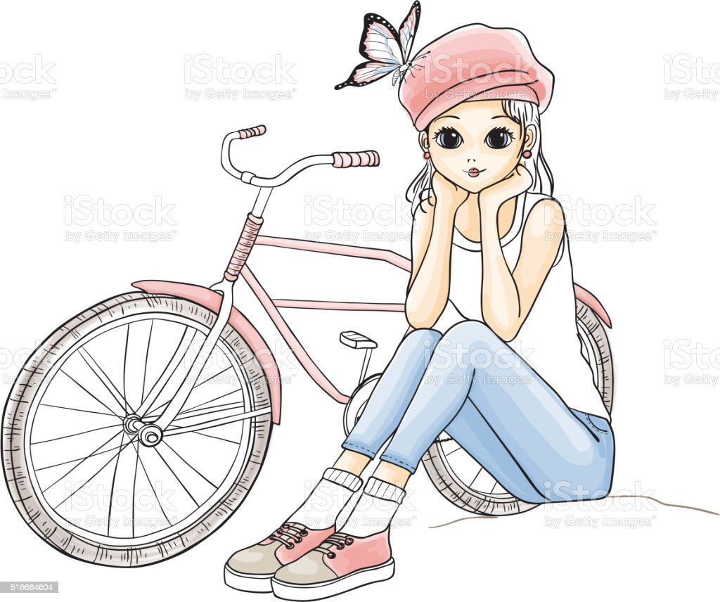 Girl with a bicycle vector art illustration