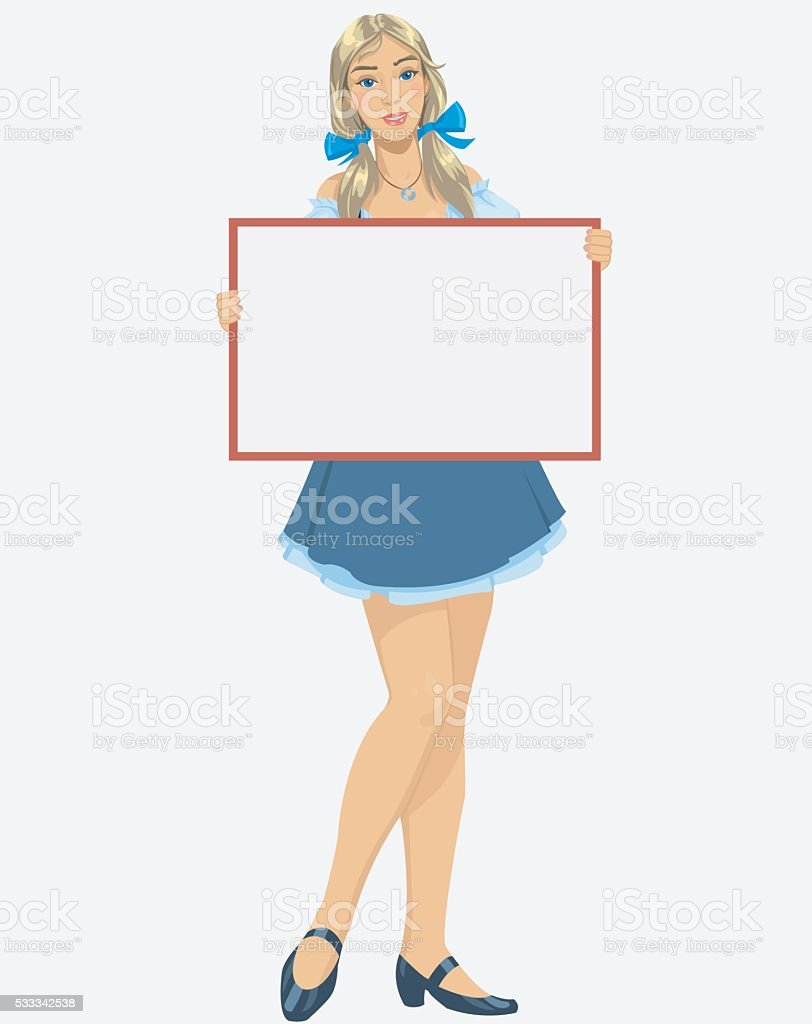 Girl with a blank poster royalty-free stock vector art