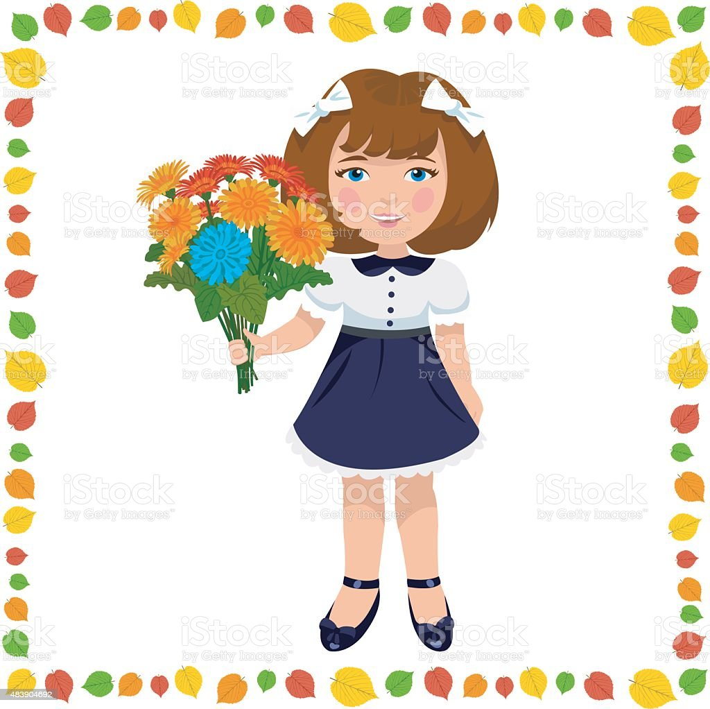 girl with a bouquet of flowers royalty-free stock vector art