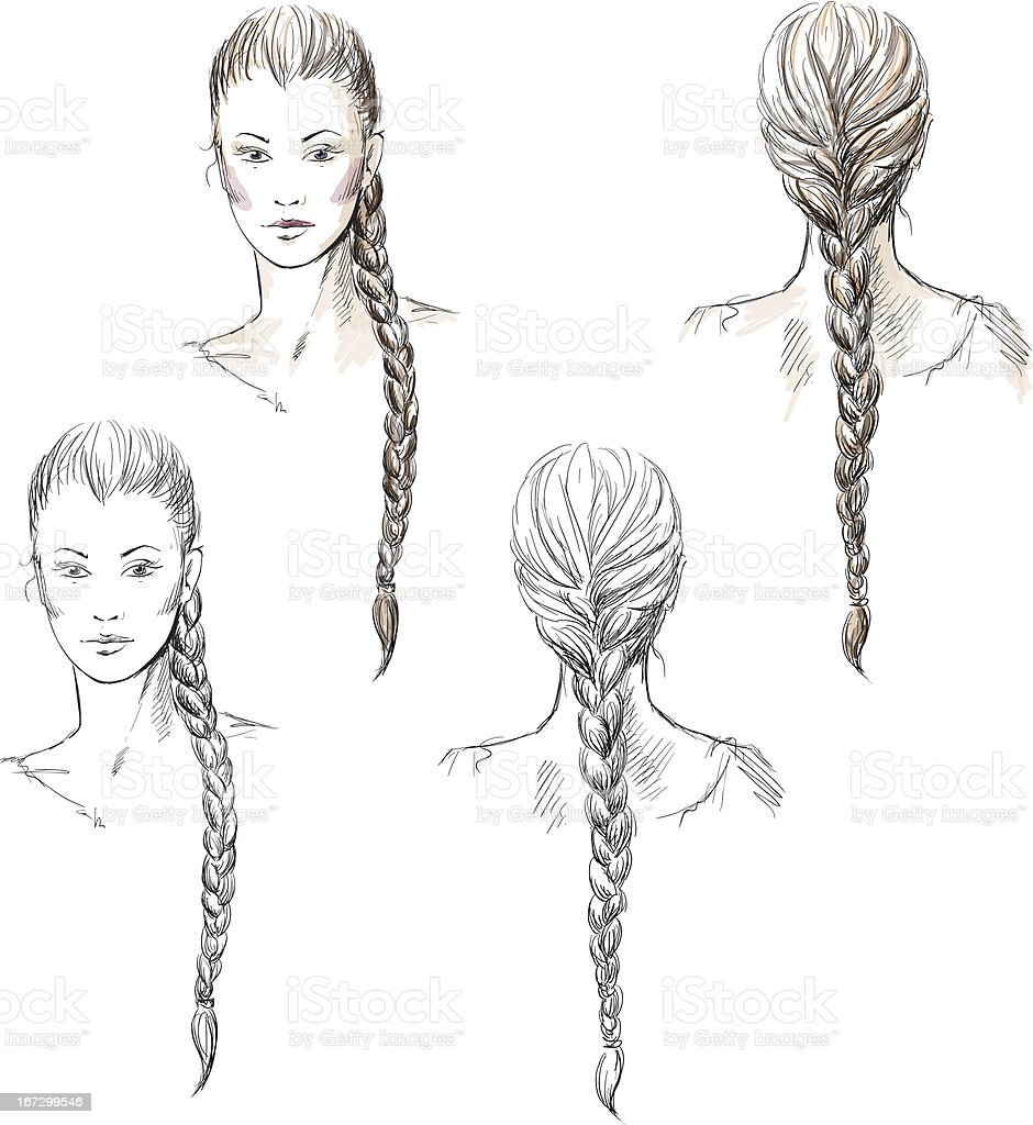 Girl with a braid, vector EPS 10 royalty-free stock vector art