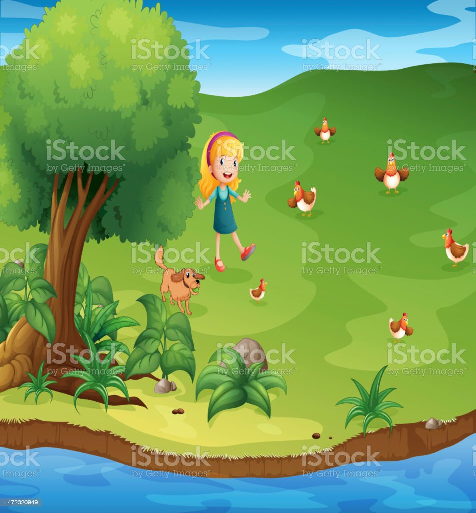 Girl with a dog and chickens near the river royalty-free stock vector art