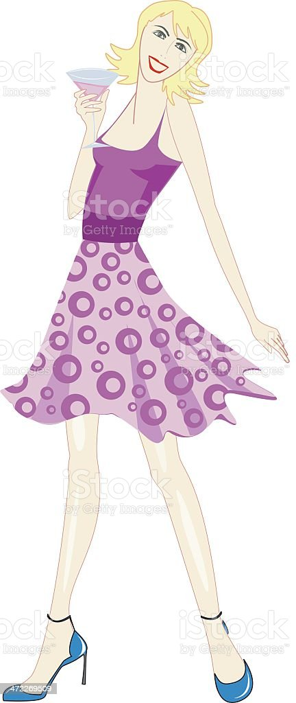 girl with a drink royalty-free stock vector art