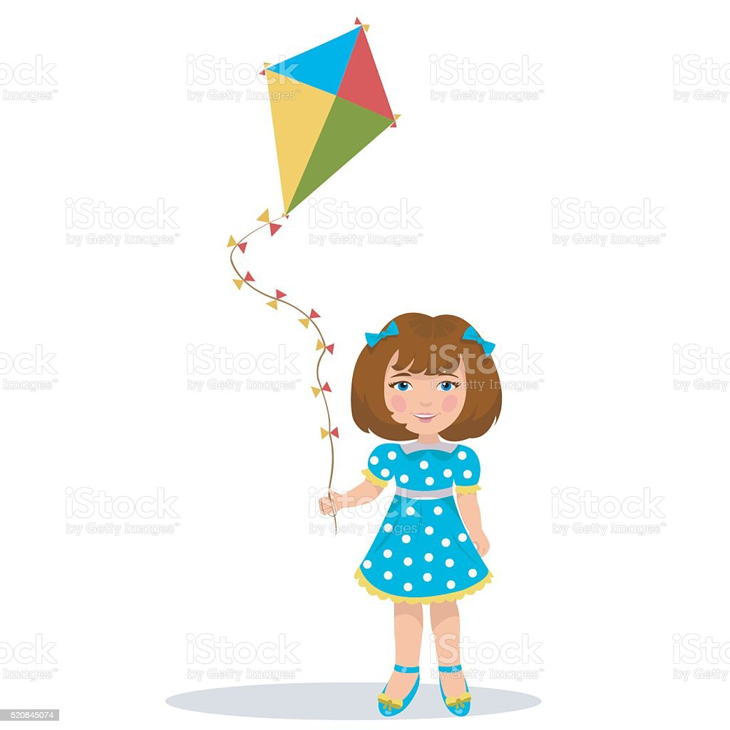 girl with a kite royalty-free stock vector art