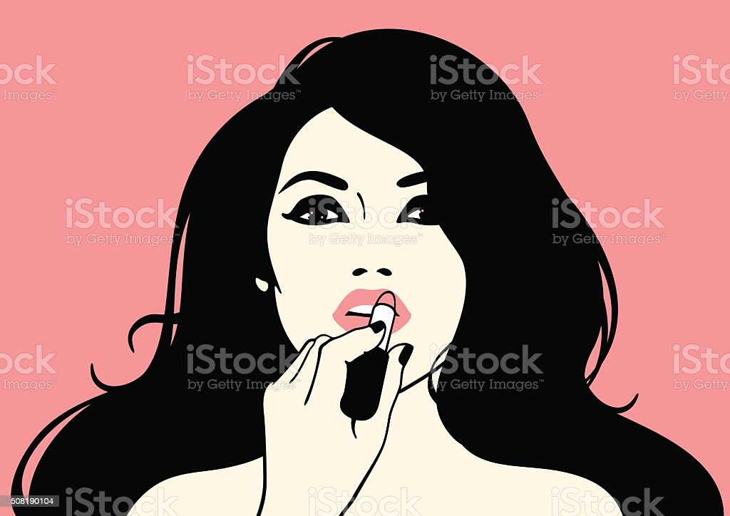 Girl with a lipstick vector art illustration
