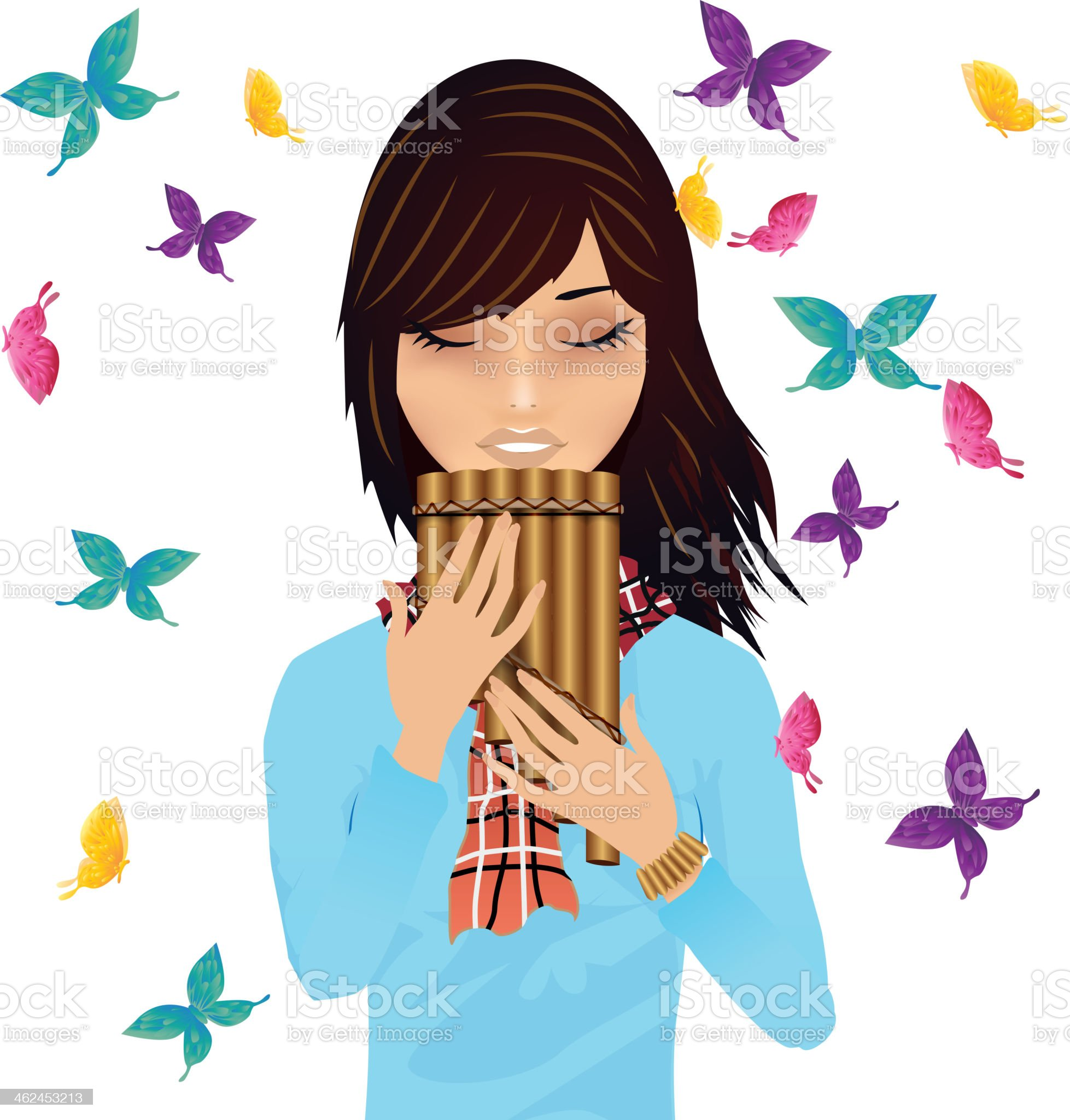 Girl with a pan's flute surrounded by butterflies vector royalty-free stock vector art