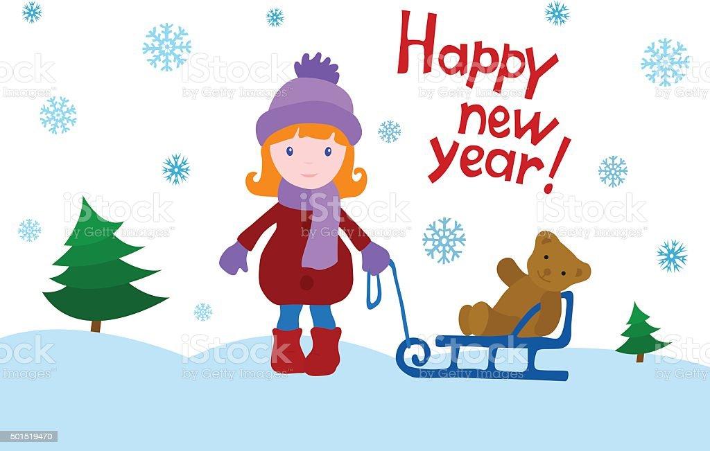 Girl with a teddy bear on a sled vector art illustration