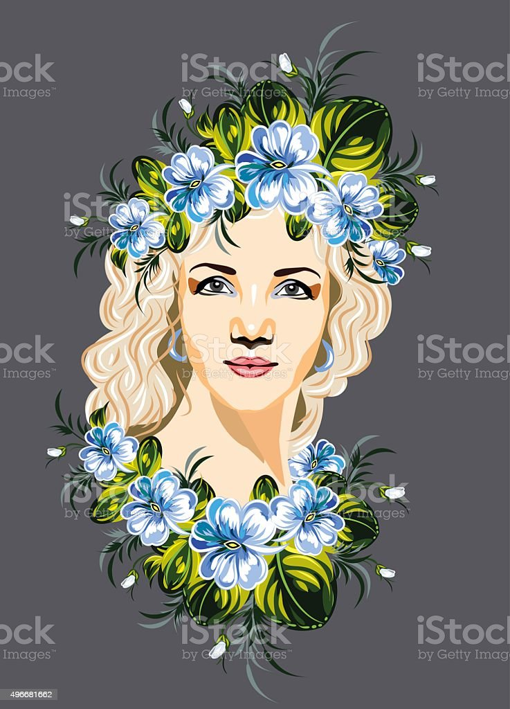 girl with a wreath of orchid vector art illustration