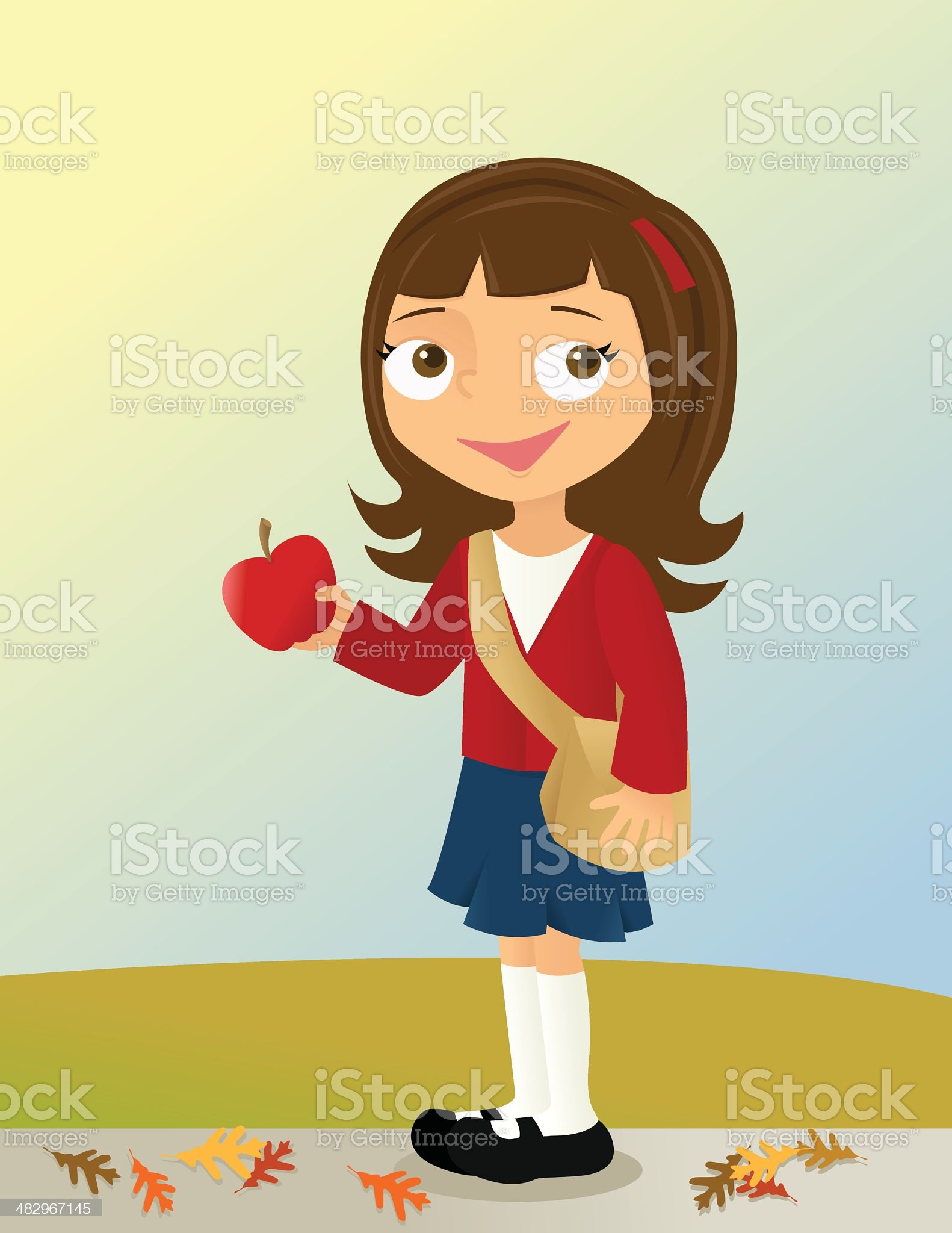 Girl with Apple royalty-free stock vector art