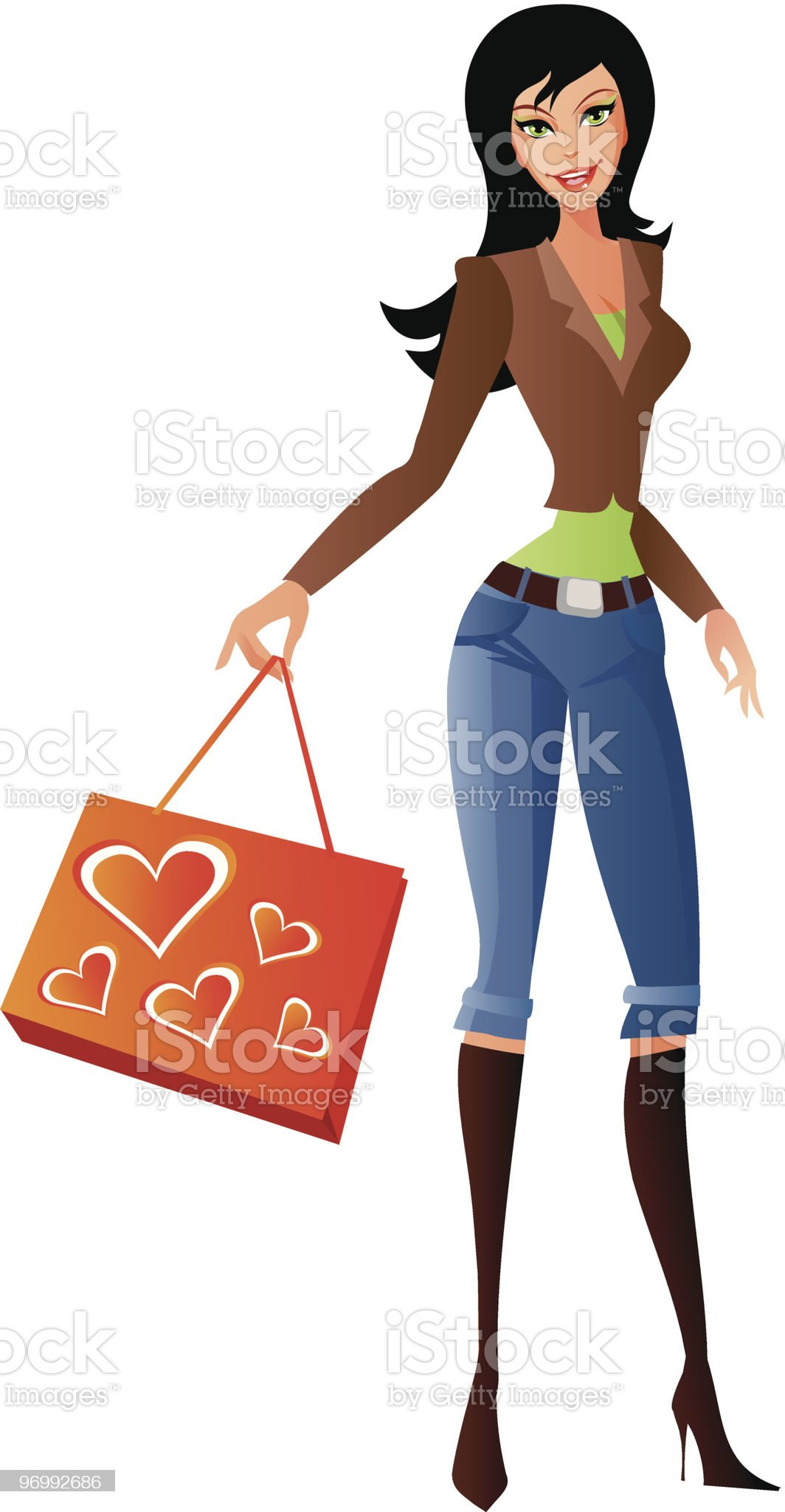 Girl with bag 3 royalty-free stock vector art