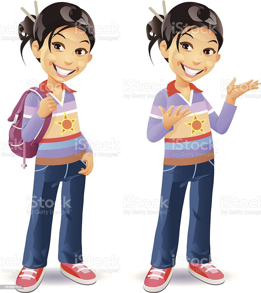 Girl With Bag vector art illustration