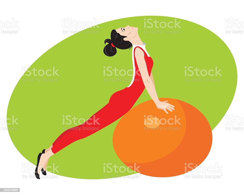 Girl with ball sports vector art illustration