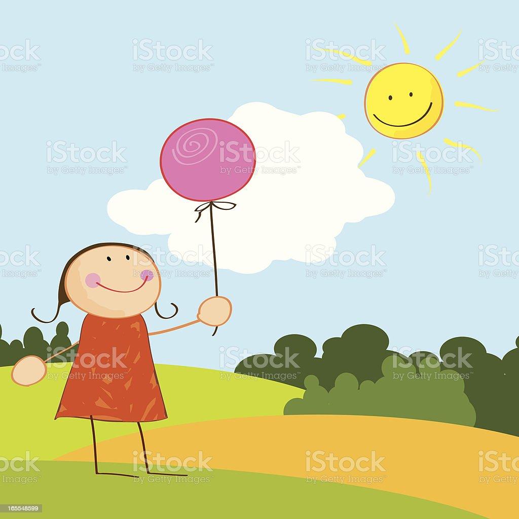 girl with balloon and bright sunshine vector art illustration