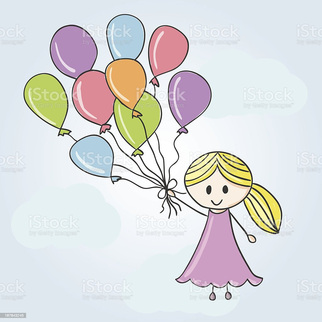 Girl with balloons and clouds royalty-free stock vector art