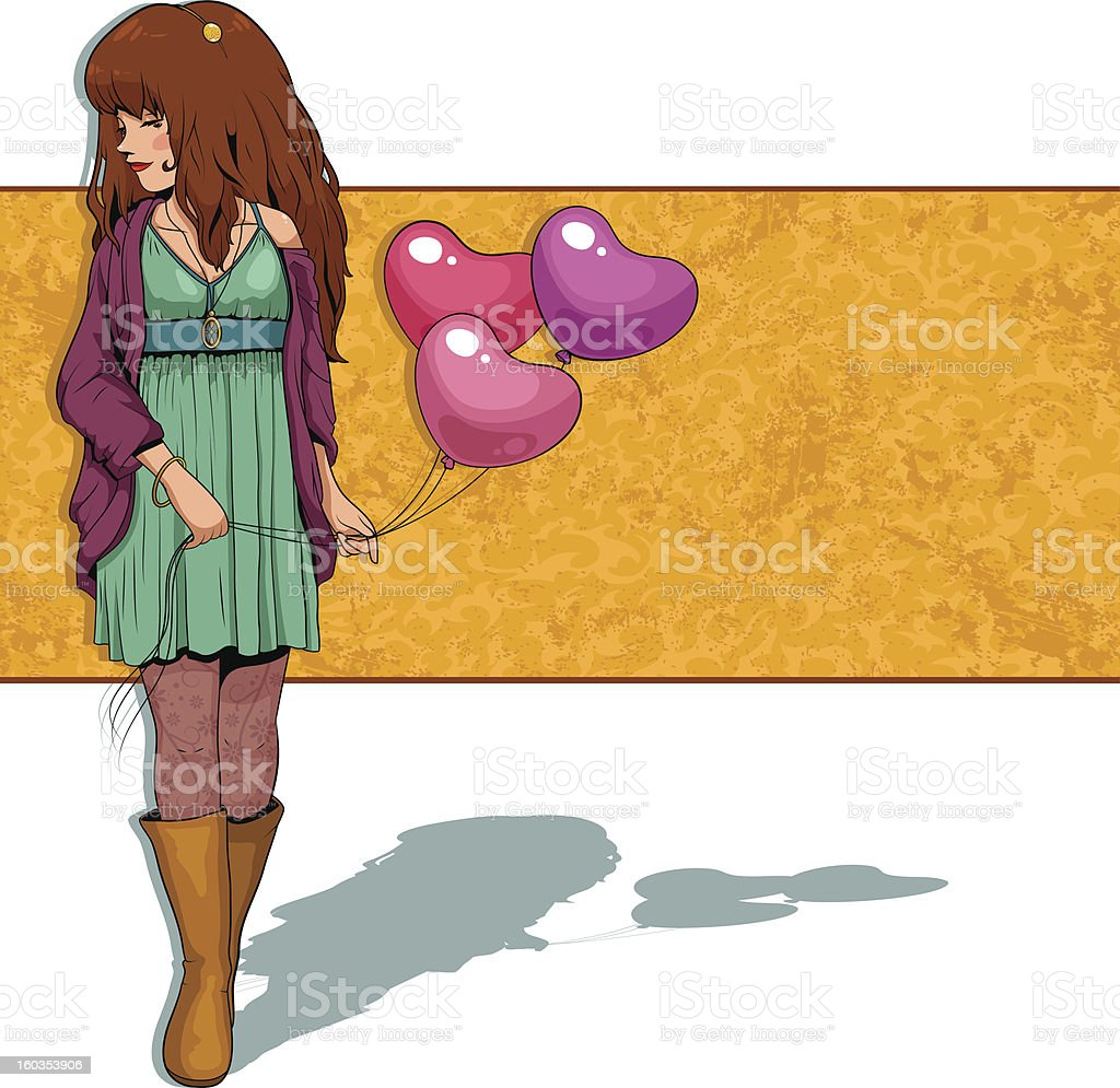 girl with balloons royalty-free stock vector art
