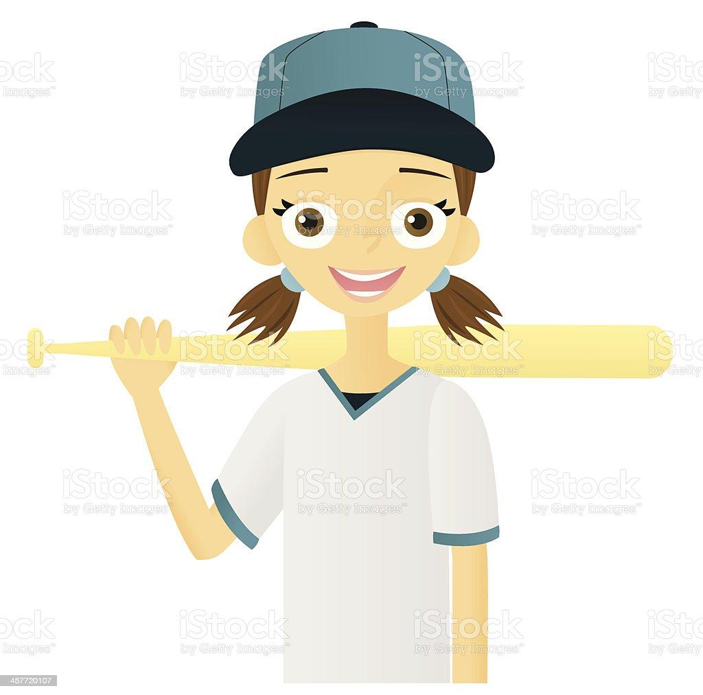 Girl with Baseball Bat royalty-free stock vector art