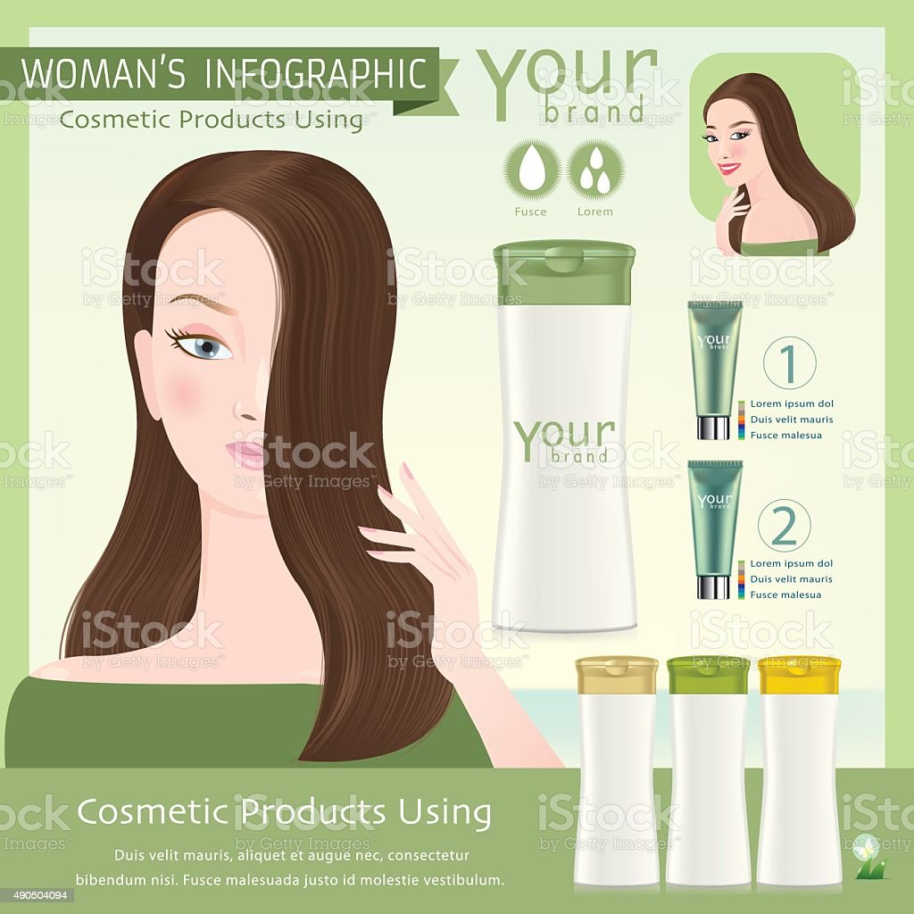 Girl with beautiful haircut. Illustration of Bottle for Shampoo. Vector. vector art illustration