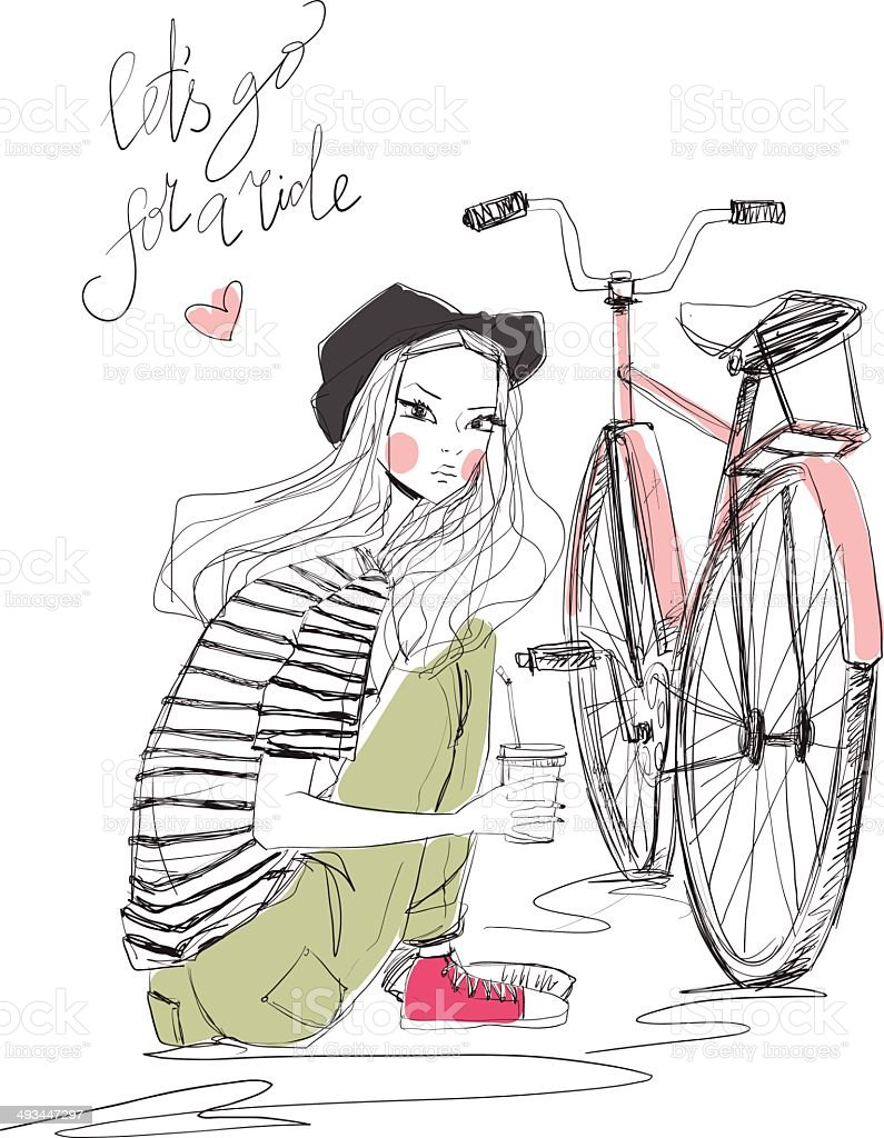 girl with bike royalty-free stock vector art