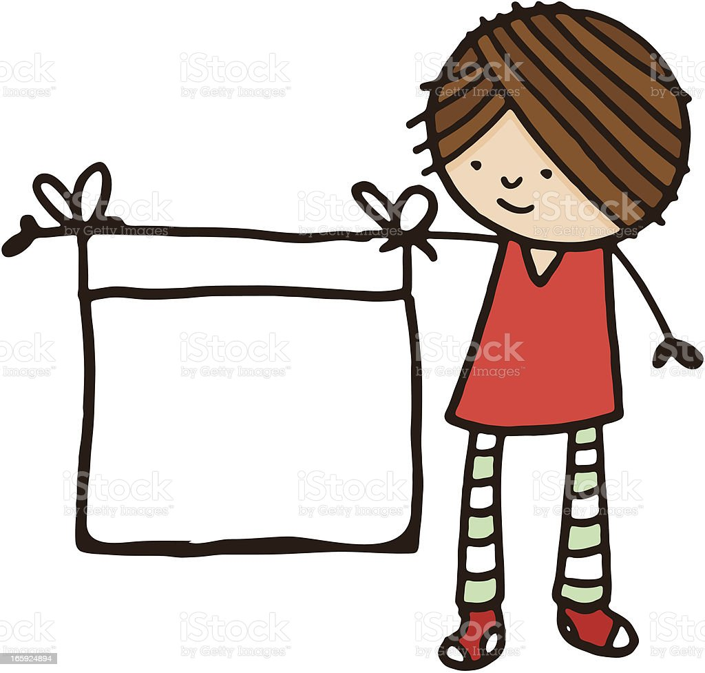 Girl with blank banner tied to arm vector art illustration