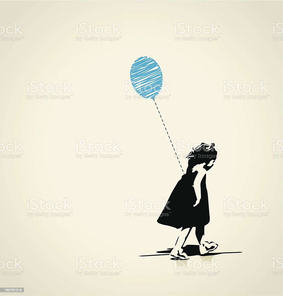 Girl with blue balloon vector art illustration