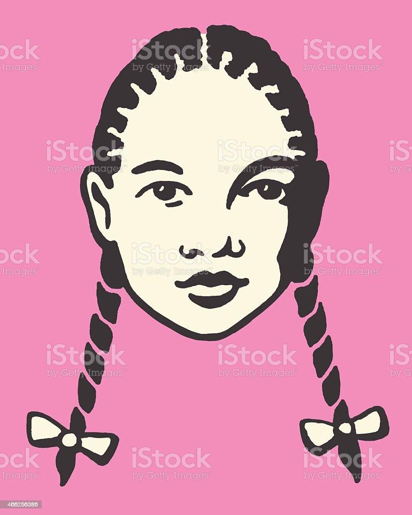 Girl with Braids vector art illustration