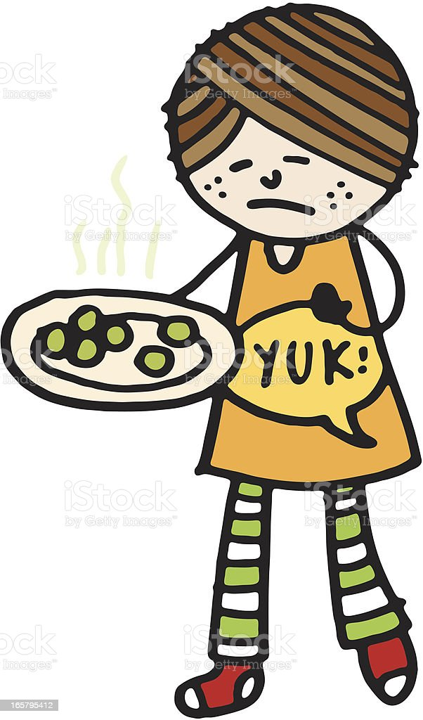 Girl with Brussel sprouts royalty-free stock vector art