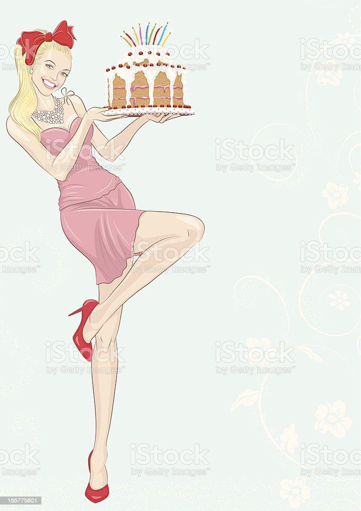 Girl with cake vector art illustration