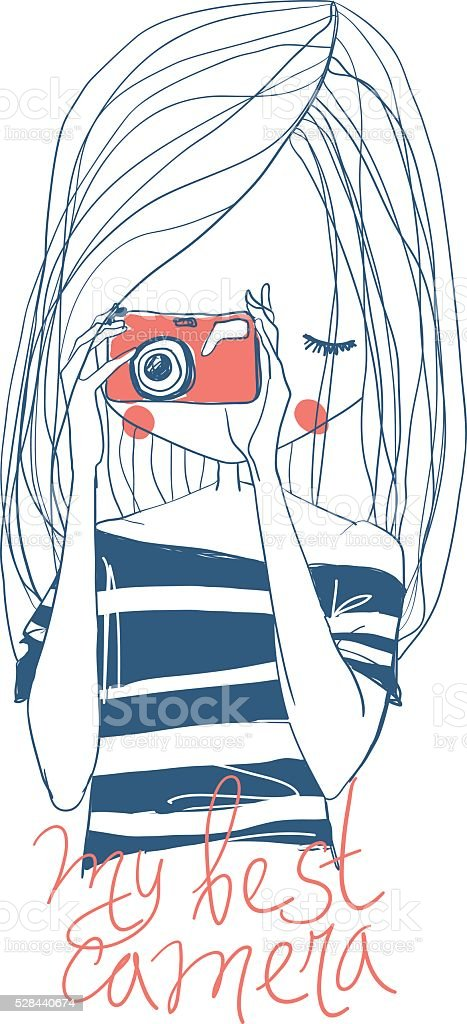 Girl with camera and lettering royalty-free stock vector art