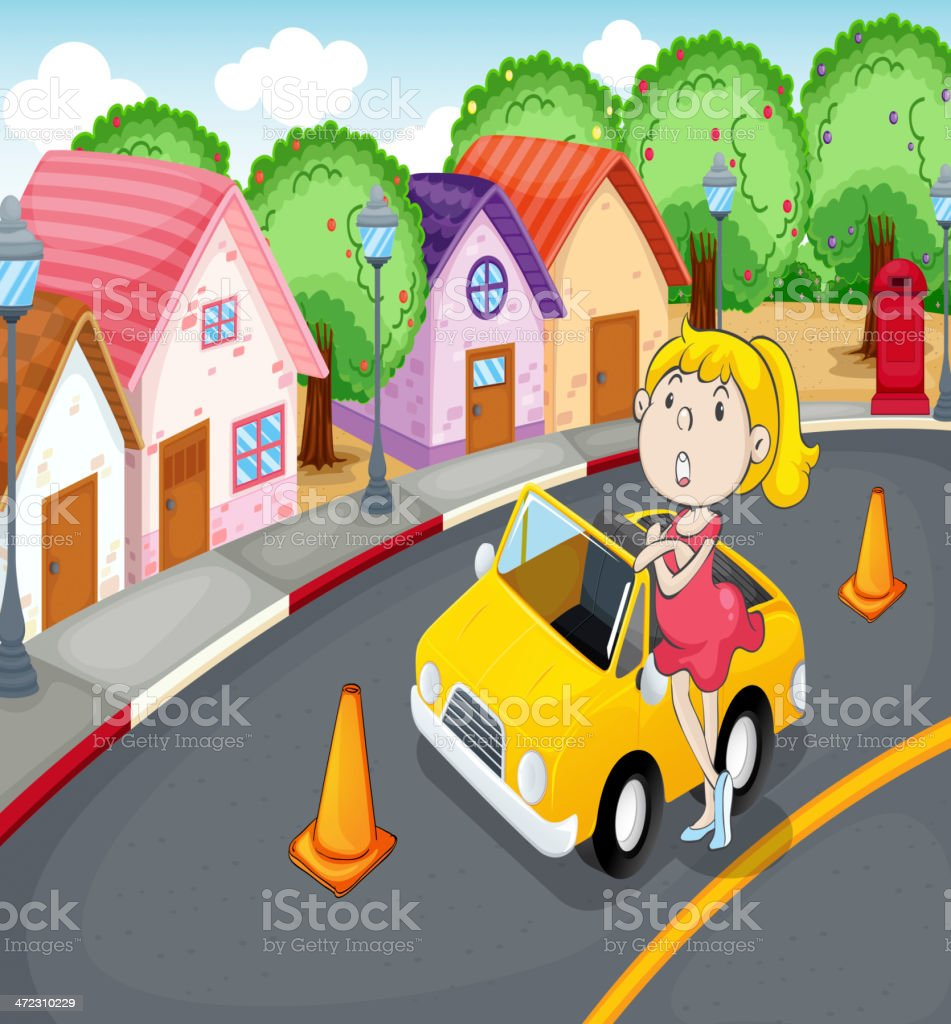 Girl with car royalty-free stock vector art