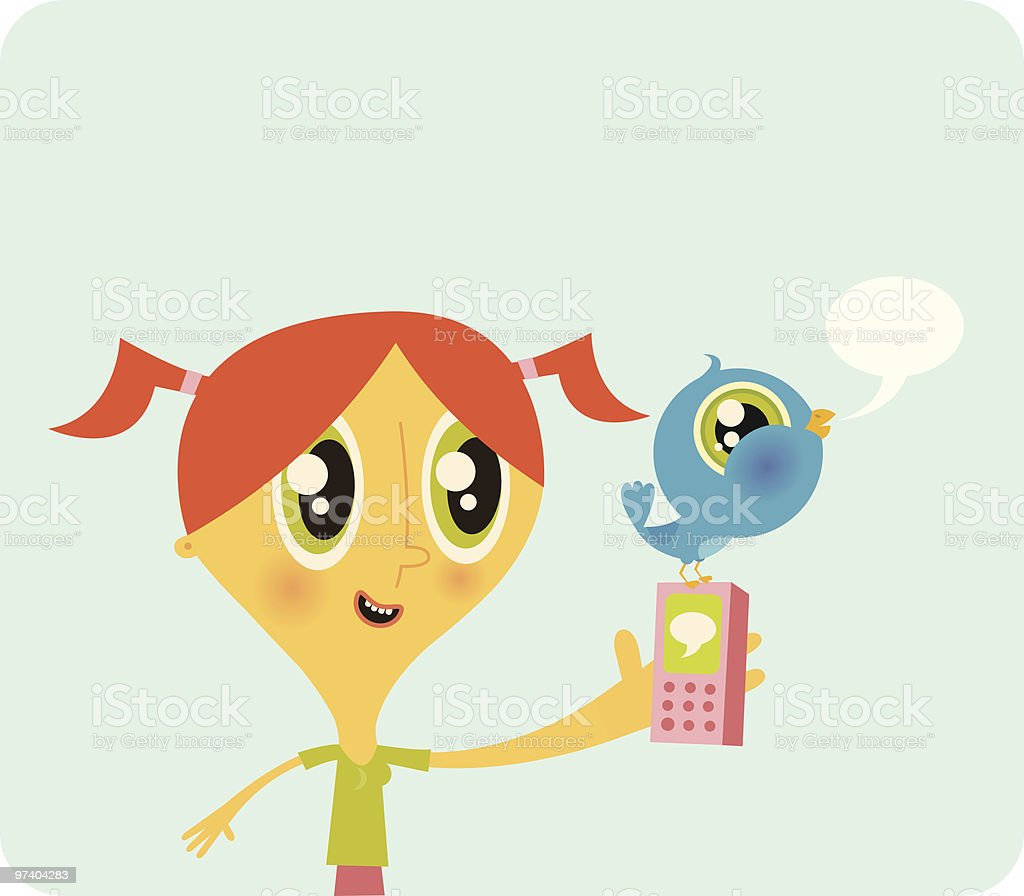 Girl with Cell Phone and Twitter Bird vector art illustration
