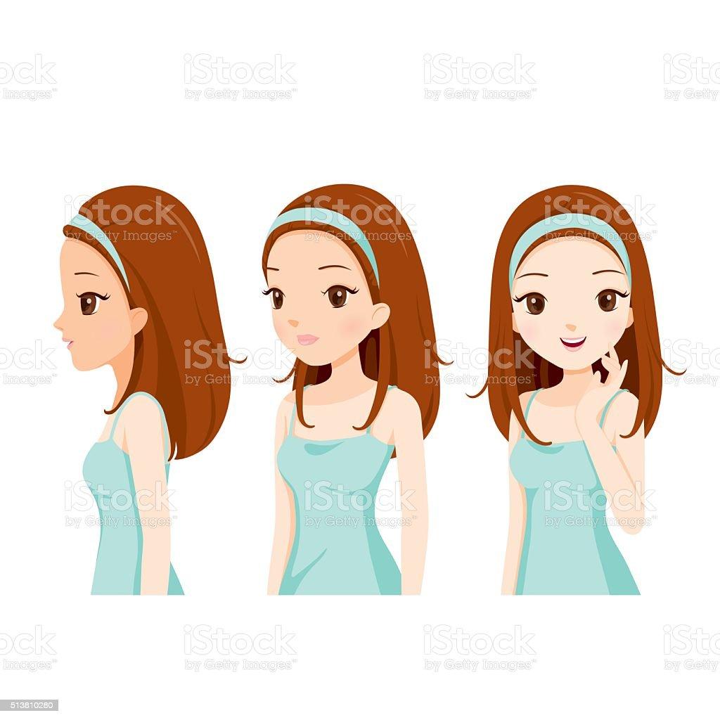 Girl With Color Skin Step vector art illustration