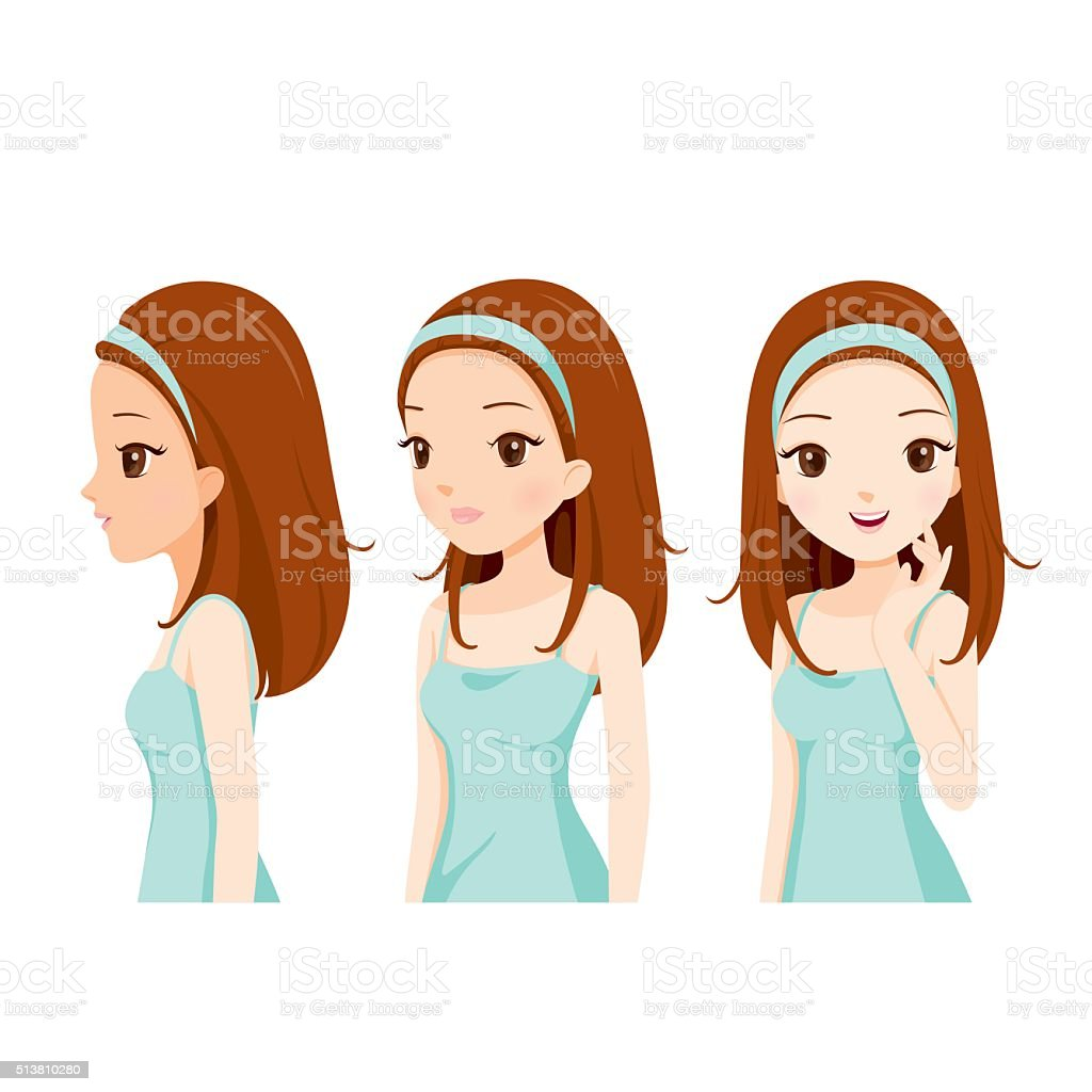 Girl With Color Skin Step vector art illustration