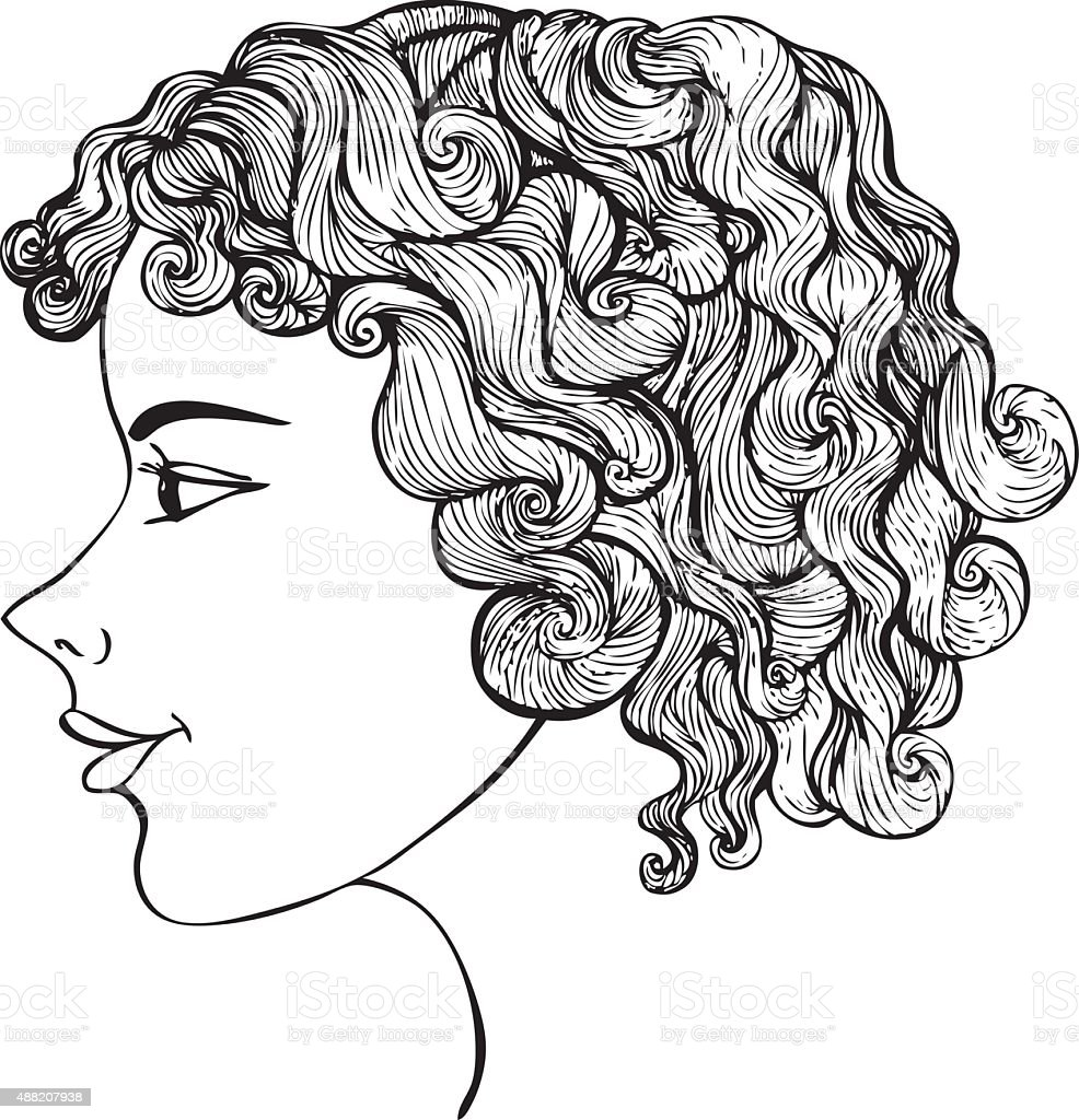 Girl With Curly Hair Ink Drawing vector art illustration
