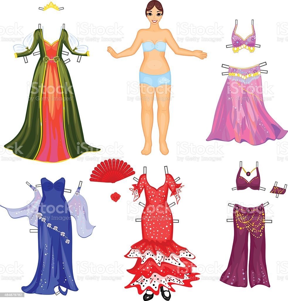Girl with different dresses vector art illustration