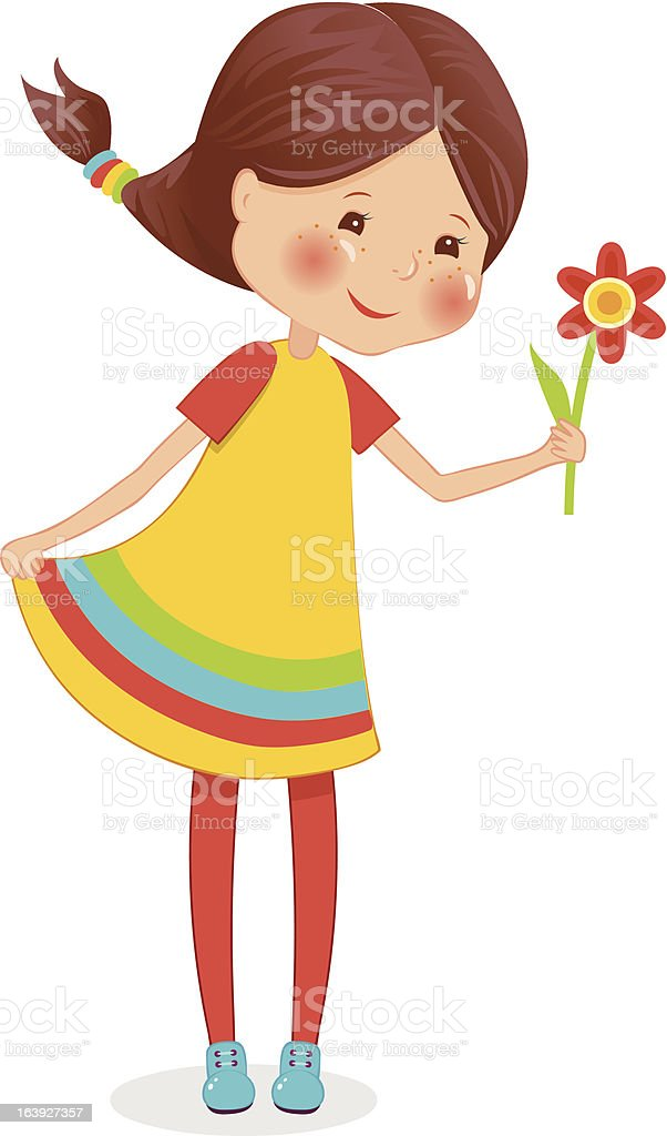Girl with flower royalty-free stock vector art