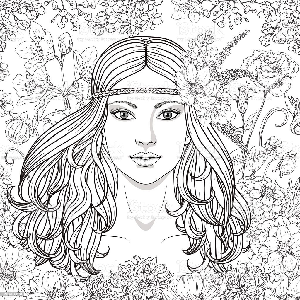 Girl with flowers contoured image. vector art illustration