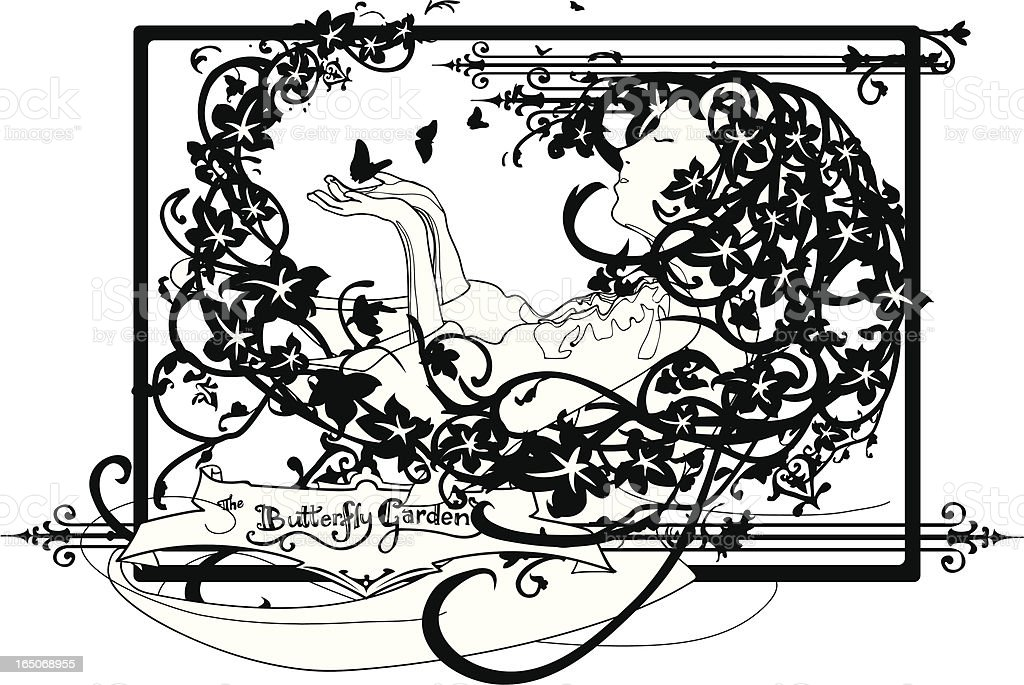 girl with flowing ivy hair releasing butterflies royalty-free stock vector art