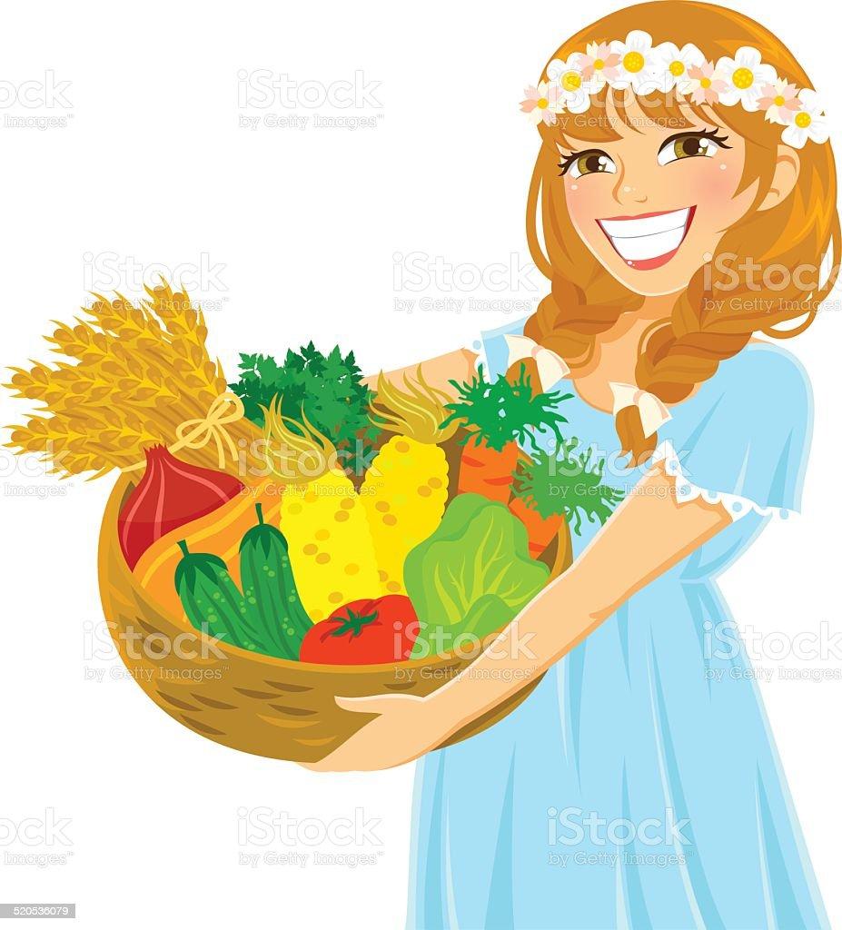 girl with fresh vegetables vector art illustration
