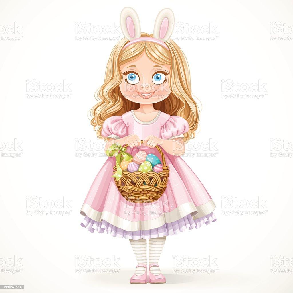 Girl with hare ears on head holding basket of eggs vector art illustration