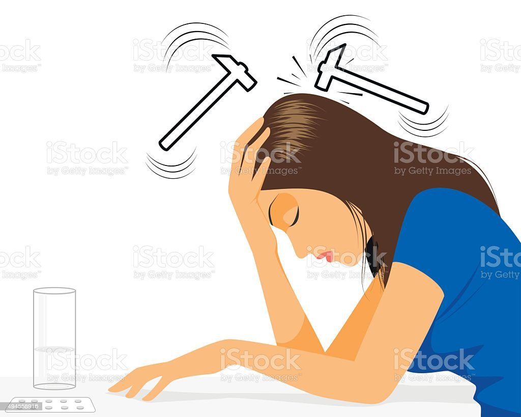 Girl with headache vector art illustration