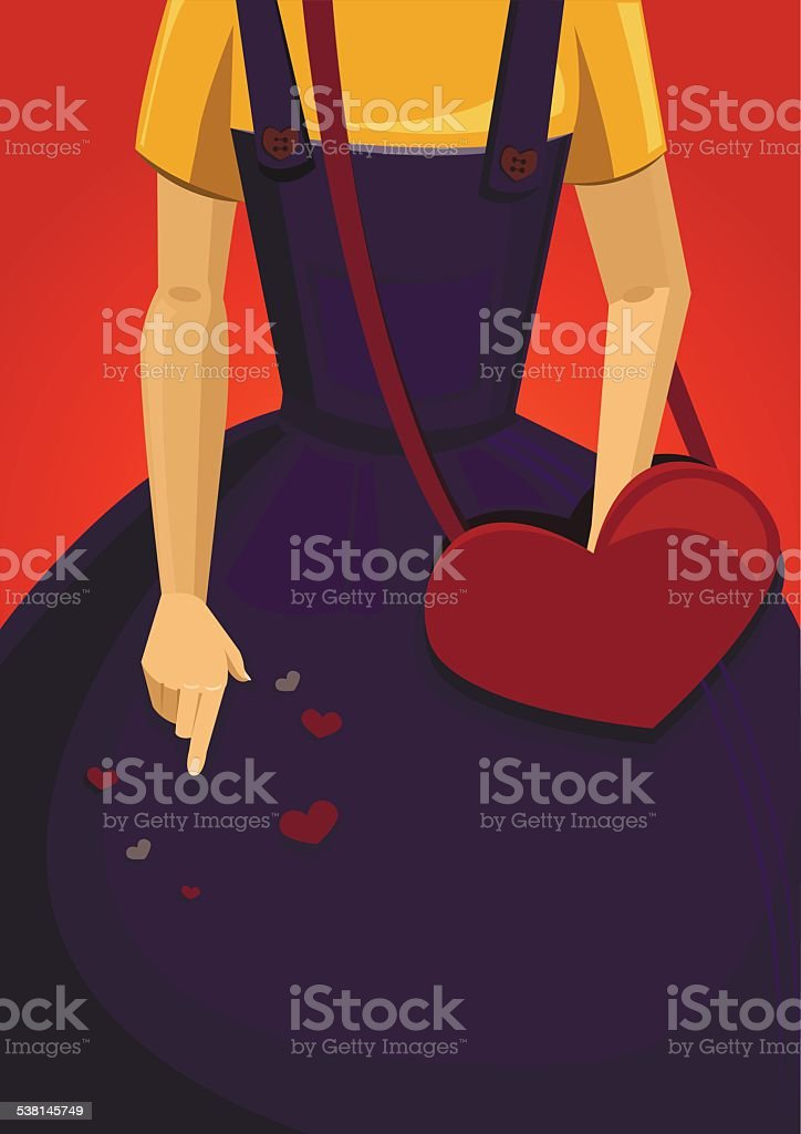 Girl with heart-shaped bag vector art illustration
