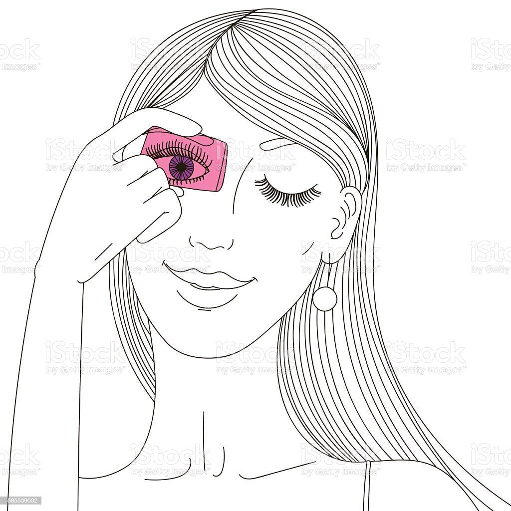 Girl with her hair looks through the glass. Vector illustration vector art illustration
