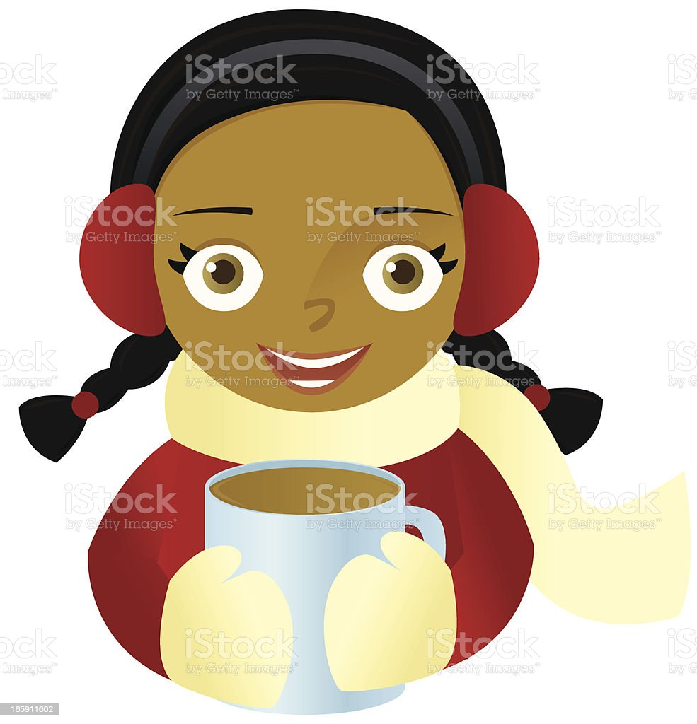 Girl with Hot Chocolate vector art illustration