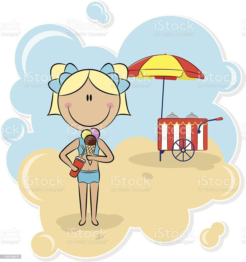 Girl with ice-cream royalty-free stock vector art
