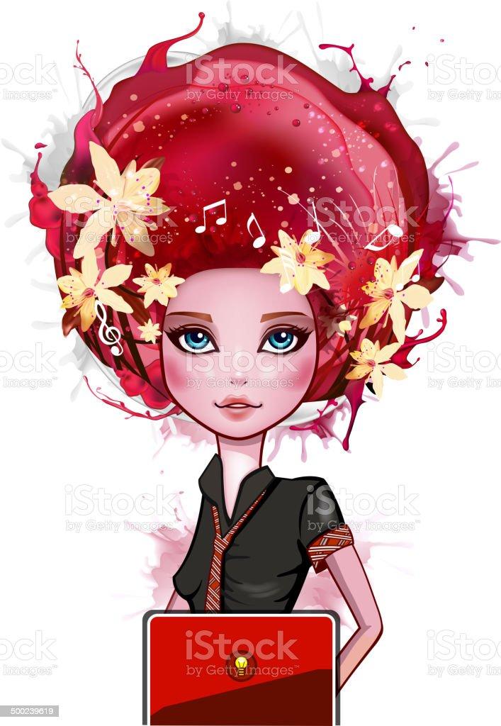 Girl with laptop vector art illustration