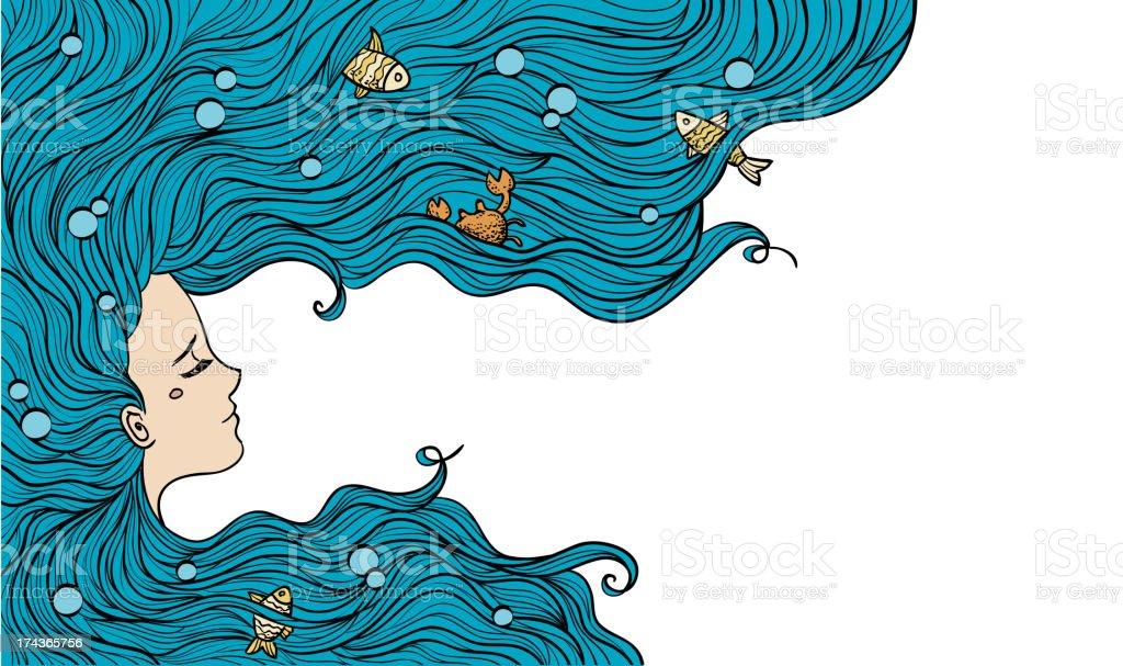 Girl with long blue hair half face royalty-free stock vector art