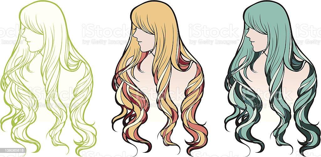 Mädchen mit langen wave Haar Lizenzfreies vektor illustration