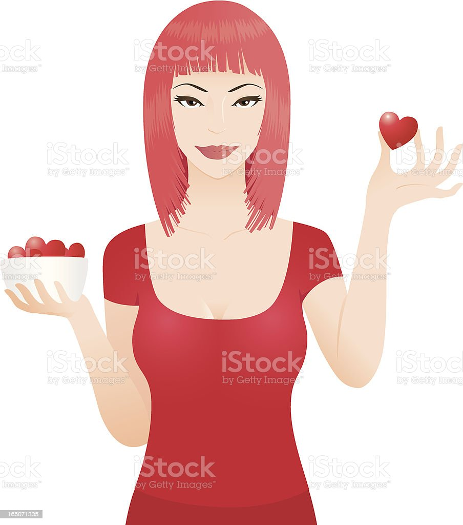 Girl with lots of Love royalty-free stock vector art